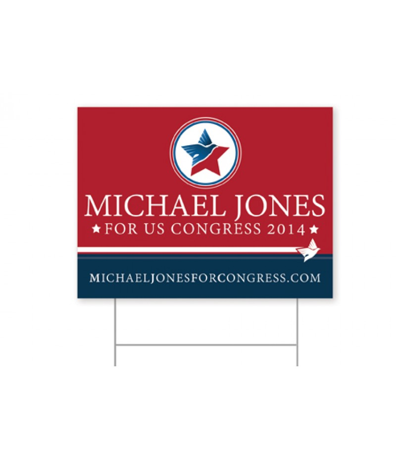 "Political  Signs - Size in Inches (HxW) 12""X18"" - Corrugated Plastic 4mm - Full Color Print"